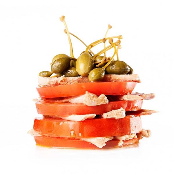Ensalada de Tomate laminado con ventresca de Atún